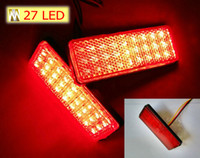Wholesale RED Lens Rectangle Red LED Reflectors Brake Light for Universal Motorcycle car truck high performance rear lights tail light