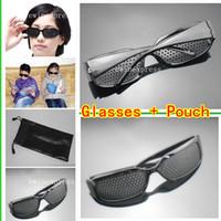 Wholesale 10pcs Pinhole Glasses Black Sunglasses Pouch Bags Eyesight Improvement Vision Care Exercise Eyewear Training Set