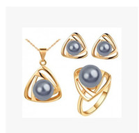 Earrings & Necklace Pearl Alloy Wholesale - Fashion Triangle Pearl Jewelry Set Charm Geometry Jewelry sets necklace + earrings + Ring Noble jewelry for women 3L Set
