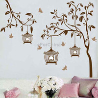 Graphic vinyl PVC Animal 90cmx60cm DIY Fashion Self Adhesive PVC Removable Wall Stickers House Interior Decoration Pictures Trees Birds Decals Home Decor