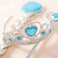 Wholesale Children Girls Ornaments Magic Wand Rhinestone Crown HairBand Girls Wig Children Party Accessories