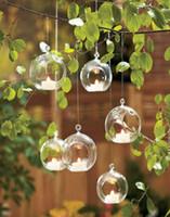 Wholesale 6pcs Beautifu Haning Candles Glass Globe Tealight Holders Wedding or Home Decor candlestick