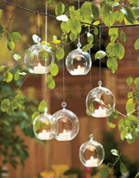 Wholesale 6pcs Hanging Air Plant Terrarium Wedding Candles Glass Ball Tealight Holders Wedding or Home Decor candlestick