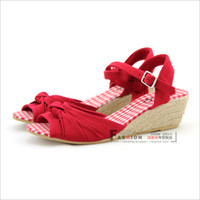 Women Spool Heel Adult Vivi fashion grid cloth hemp-soled wedges sandals brief women's bow open toe shoes red