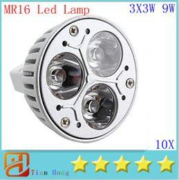 10pcs lot MR16 3X3W 9W Dimmable Spotlight Led Lamp AC DC 12V Energy Saving Lighting Downlight free shipping
