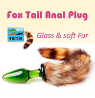 Wholesale Dropshipping Women female mini fox tail animal transparent Crystal glass anal plug pump butt plug sex toys products for women