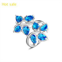 Wholesale new brand Sterling Silver plated punk jewerly Blue topaz gemstone lovers rings fashion austrian crystal wedding rings for women R0642