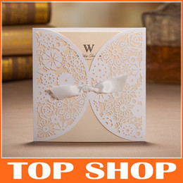 Wholesale White Wedding Invitations Hollow Foil Stamping Uneven Ribbon Wedding Gift Lace Free Printable Cards Wedding Favors HQ0001