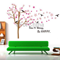 Graphic vinyl PVC Animal DIY Fashion PVC Removable Wall Stickers House Interior Decoration Pictures Peach Tree Size 90cm x 60cm Home Decor Decals