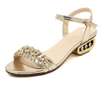 Wholesale Luxury Glitter gold leafs mid heel rhinestone sandals open toe cm women shoes fashion summer sandals shoes size to