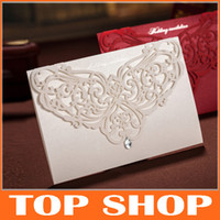Customizable Hollow Crystal Lace Wedding Invitation Card Wit...