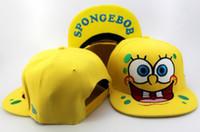 Ball Cap Red Cotton Free Shipping 3 styles Nickelodeon SPONGEBOB Cartoon Snapback hats YELLOW djustable sports caps HAT 5pcs lot