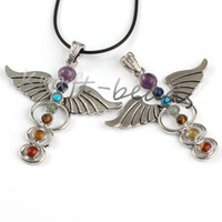 beaded wings - Fashion Charm Silver Angel wings shaped chakra healing pendant Gift