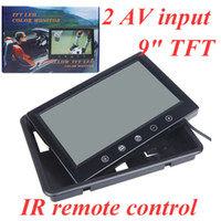 Wholesale 9 quot TFT LCD Car Color Rearview Mirror Car Monitor for VCD DVD GPS Camera AV input IR remote controller Standing or Mounting K1131