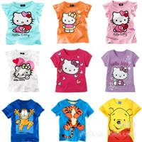 Unisex Summer Children new 2013 2014 children t shirts Kids Clothing child Baby hello kitty Cartoon blouse Boys For Summer Outwear Baby T-shirt B137