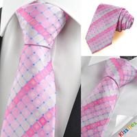 Wholesale New Pink Plaid Checked Gitter Men s Tie Necktie Wedding Party Holiday Gift KT0051