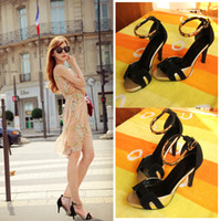 Women Low Heel PU 2014 summer new word buckle fish mouth leather high-heeled sandals H family pattern Korean mixed colors waterproof shoes
