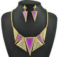 Wholesale sets in Indian style Women fashion jewelry set Vintage Triangle Carved flower crystal necklace pc earrings pair