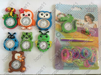 Wholesale New Arrival DIY Knitting Braided Cartoon Round Dial Loom Watch Rainbow Kit Rubber Loom Bands Self made Silicone Bracelet