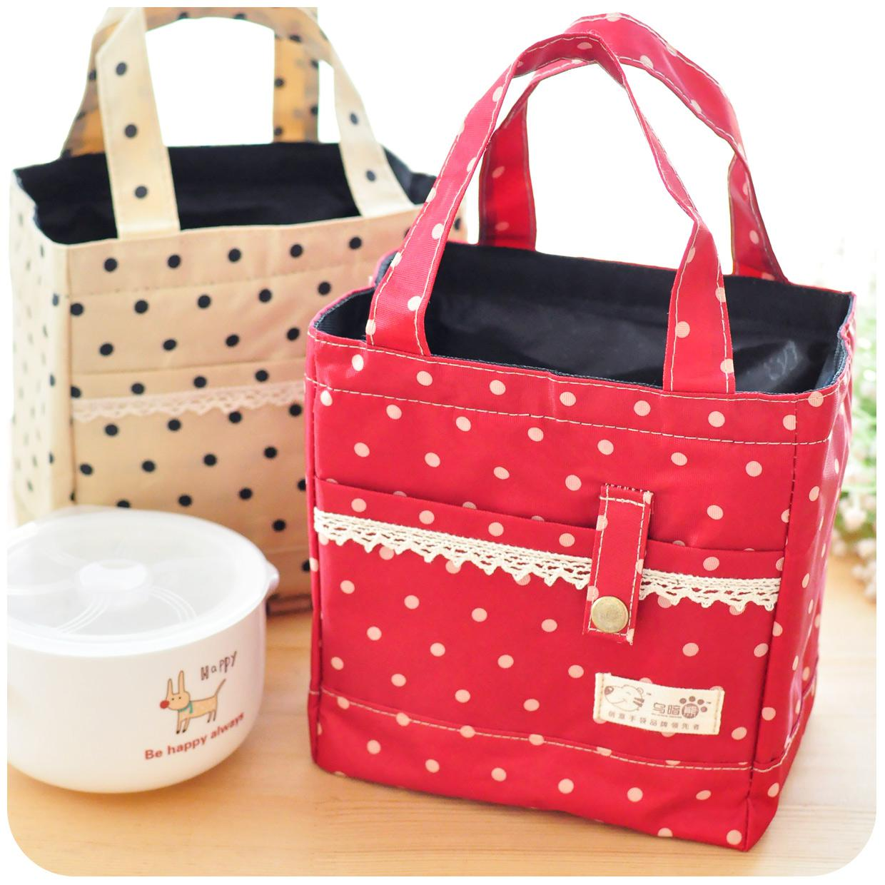 Cute Lace Decoration Canvas Lunch Bag Lunch Totes Stanniol ...