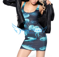 Wholesale Spring Fshion Elegant Dresses for Womens Digital Printing JELLYFISH DRESS Casual Women Unique Style S119