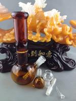 Bongs en verre ambré bangs en verre 14mm à 18mm rincer downstem deux fonctions un nid d'abeille bongs Livraison gratuite