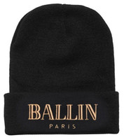 Wholesale Ballin Paris Beanie Hat Brand Warm Winter Beanies Fashion Knitted Hats Men Women Skiing Wool Cap Outdoor Skull Caps
