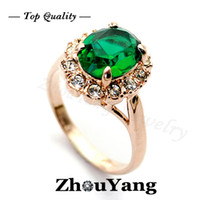 Wholesale 18K Rose Gold Plated Emerald Green Ring Elegant Jewelry CZ Diamond Austrian Crystal Stellux Full Size Gemstone ZYR088
