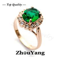 emerald ring - 18K Rose Gold Plated Emerald Green Ring Elegant Jewelry CZ Diamond Austrian Crystal Stellux Full Size Gemstone ZYR088