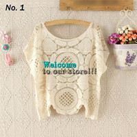 Short Sleeve Polyester Floral Women's Sexy Summer Hollow Out Crochet Jumper Beach Clothing Loose Blouse Swimwear Short Sleeve Bikini Cover-Ups