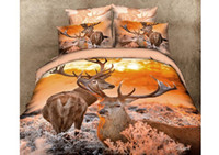 100% Cotton 3D Oil Painting  Home Deer Bedding Sets,Animal Print Comforter Set,3D Oil Painting Duvet Cover Set,4Pcs,Queen
