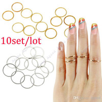 Band Rings Alloy Band Rings Wholesale - 10set lot New fashion 12PCS Set Rings Urban Gold stack Plain Cute Above Knuckle Ring Band Midi Ring 18521