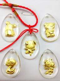 Pig Crystal 24K gold inside pendant charms cartoon twelve chinese zodiac Business gifts, festival gift, staff welfare, tourism souvenir