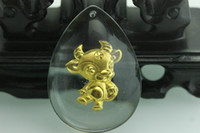 Lockets Yellow Gold Crystal, Rhinestone wholesale jewelry crystal and 24K gold Pendant Cartoon Chinese Zodiac Signs Ox cow for boys kids wife and lover pendants lockets charms
