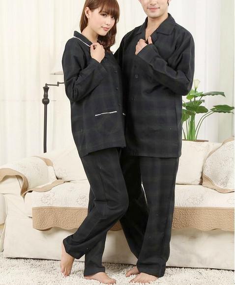 Romantic Black Grid Lovers Pajamas for Men And Women Homewear ...