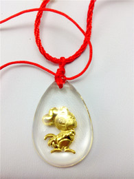 Chicken Crystal 24K gold inside pendant charms cartoon twelve chinese zodiac Business gifts, festival gift, staff welfare, tourism souvenir