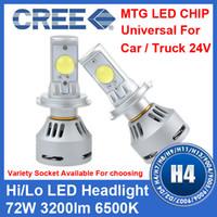 Wholesale 2 Sets H4 W CREE LED Headlight High Low MTG Chip Universal V V Car Truck White K lm Mix D1 D2 D3 D4 H7 H13