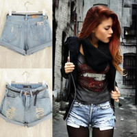 Women Denim Skinny shirt NEW Retro Women Girls High Waist Ripped Flange Hole Wash White Jean Denim Shorts