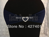 Cheap Hot Sale Navy Blue Spandex Bands Lycra Band Chair Covers Sash With Heart Shape Buckle For Wedding & Banquet