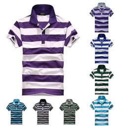 Wholesale 2014 Brand new fashion mens t shirts cotton casual stripe t shirt men tshirt high quality slim men s t shirts PL