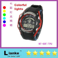 backlit watches - new men watch NT F seven lights backlit multi function digital watches waterproof LED electronic student activity watch Quartz Watches