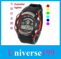 Men's backlit watches - watch NT F seven lights backlit multi function digital watches waterproof LED electronic student activity watch Quartz Watches cheap dhl