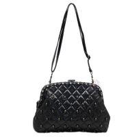 Clutch Bags Women Plain Womens Vintage Designer Skull Rivet Pu Leather Handbag Shoulder Bag Purse Clutch black free shipping 1pcs lot