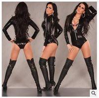 latex catsuit -spandex -lycra - Women Latex Catsuit Sexy Faux Leather Jumpsuit Pole Dance Costume Erotic Lingerie Sexy Club Dress Party Costume Fashion Bodysuit