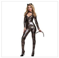 Wholesale Women Catwoman Jumpsuits Leopard Latex Catsuit Sexy Faux Leather Jumpsuit Erotic Lingerie Sexy Club Dress Party Costume Fashion Bodysuit