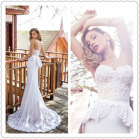 A-Line Reference Images Strapless Sexy Julie Vino Bridal 2014-2015 Daniella Sleeveless Lace Wedding Dresses Isabelle Gown With Peplum Strapless Celebrity Bridal Gowns New