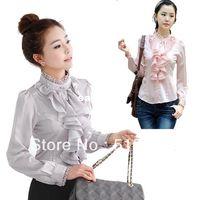 Women Ruffles Regular Wholesale-women plus size long sleeve chiffon s tops and blouses 2014 new fashion xl, xxl s free shipping