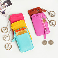 Coin Purses Red Plain 2pcs Candy color small coin purse card storage case with keychain,free shipping