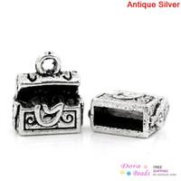 K10013 antique chests - Charm Pendants Treasure Chest Antique Silver x10mm K10013