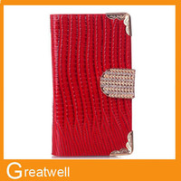 Wholesale Diamond bling snake croco Wallet leather pouch for iphone S S iphone inch plus lanyard strap chain credit card case free